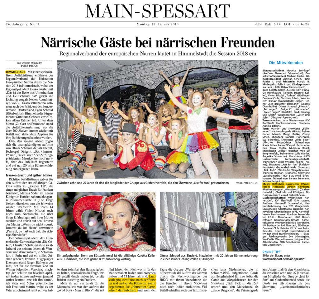 MainPost Artikel über die Prunksitzung in Himmelstadt